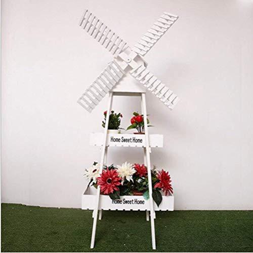 YI KUI rayonnage Pliante en Bois Pot de Fleurs étagère en Bois Support Support pour écran Intérieur Extérieur Jardin -Blanc