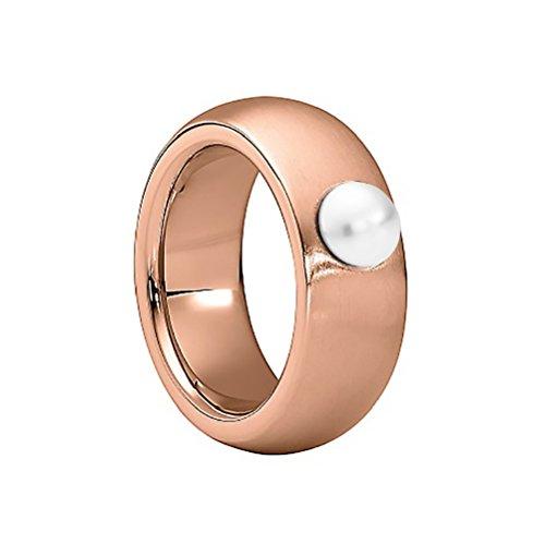 Heideman Ring Damen aus Edelstahl Rosegold farbend matt Damenring für Frauen mit Swarovski Perle Weiss Cabochon 6mm