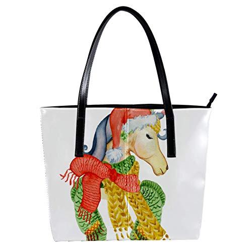 Lorvies - Sciarpa invernale con unicorno e cappello di Natale, in pelle PU, con borsa a tracolla