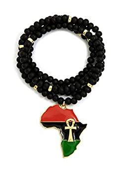 CBC Crown Pan African Colored Africa Map Continent Pendant on 26 /30  Wooden Bead Necklace in Gold or Silver Tone  30  - Black & Gold Gold Ankh