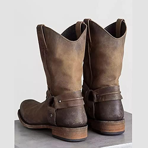 GDAFF Hommes Western Cowboy Boot PU Cuir Vintage Bottines à Bout Carré Chasse Randonnée Trekking