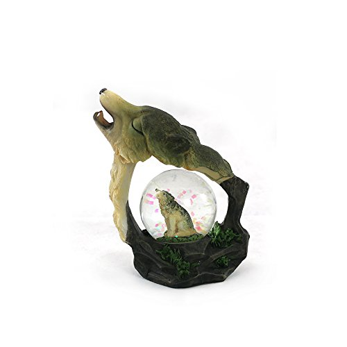 unison gifts YJF-555 4.5 INCH Howling Wolf WATERGLOBE, Multicolor