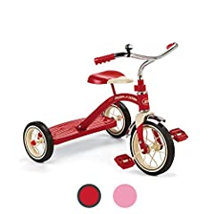 """CLASSIC TRICYCLE: This classic tricycle has a 10"""" front wheel, an all-steel frame, spoked wheels, comfort handgrips, and rubber tires for durability. The rear step allows easy on and off. ADJUSTABLE SEAT: The adjustable seat grows with your toddler t..."""
