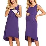 Unibelle Damen Umstandskleid Stillkleid Schwangerschaftskleider Umstandsnachthemd Stillnachthemd Sommer Kleid Lila XL
