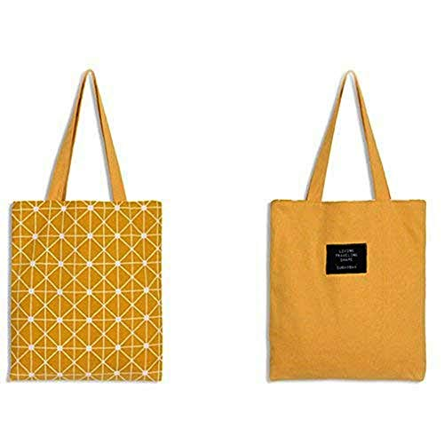 Skyeye 1 Stück Schulter Leinwand Baumwolle Doppelseitige Stofftaschen Einkaufstaschen Jutebeutel Gelb Und Geometrisches Muster (Gelb)