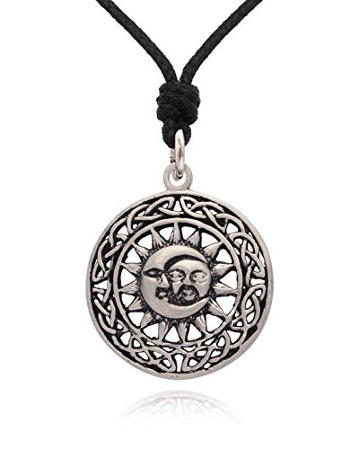 Vietguild Lovely Handmade Sun Moon Yin Yang Silver Pewter Charm Necklace Pendant Jewelry with Cotton Cord