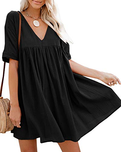 Hestenve Women's Short Sleeve V Neck Pleated Babydoll Solid Color Tunic Party Swing Mini Dress Black