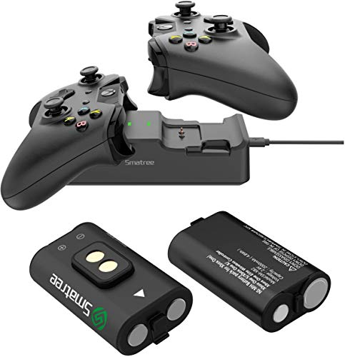 Smatree Xbox One Controller Ladestation, Xbox One Controller Akkus(2 Pack) mit Dual Kanal Ladegerät für Xbox One/Xbox One S/Xbox One X/Xbox One Elite Wireless Controller