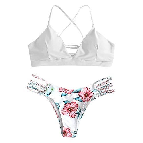 Andouy Damen Triangle Bikini Set Zweiteilige Spaghettiträger Badeanzug Schwimmoberteile Badehose Bikinihosen(M.Weiß-2)