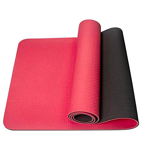 BAWAQAF Esterilla de yoga de 6 mm, con bolsa de malla antideslizante, esterilla de yoga, esterilla de ejercicio para mujer, esterilla de gimnasia