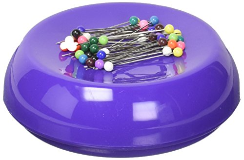 Grabbit Magnetic Sewing Pincushion with 50 Plastic Head Pins, Purple