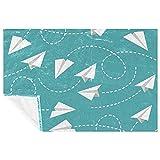 BestIdeas Papel plano azul menta patrón estampado de fondo suave cálido manta manta para cama sofá picnic camping playa 150 × 100 cm