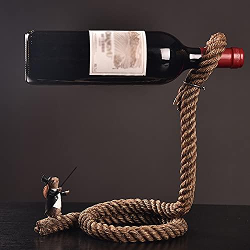 SMeijiaer Estante De Vino,Creativo Rabbit Magician Hemp Rope Magician Rope Wine Rack Estante De Vino para El Hogar,artesanía,Decoración del Porche De Partición del Hogar (sin Botella De Vino)