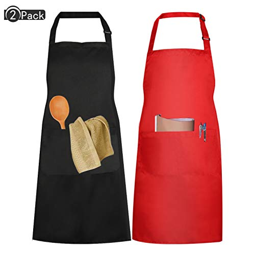 yangzhoujinbei Functionele Handig Waterdicht Schort Squid Koken Schort Mannen Vrouwen Zwart Rood Keuken Schort Met 2 Pocket Grill Schort Verstelbare Neckband