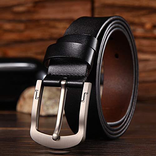 Riem voor heren Men's Belt Trinity stijl for Jeans lederen band Silver Prong Buckle Belt Zakelijke kansen, woon-werkverkeer (Color : Black, Size : Free size)