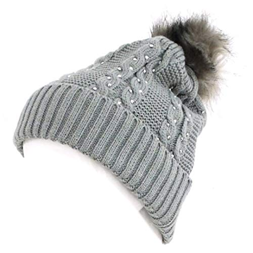 Novadis Berretto invernale da donna, accessorio invernale con strass grigio