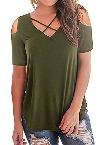 DQAW Camiseta de verano sexy con cuello en V cruzado, de manga corta, holgada, para mujer Verde militar. L