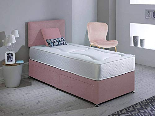 Revive Direct Velvet Bed With 2 Storage Drawers | Divan Bed With Plain Headboard & Short Metal Legs | With Comfortable Orthopaedic Memory Foam Mattress & Chrome Feet - Plush Pink - 4ft Small Double