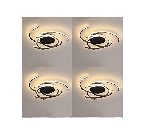 L.T LIGHTS Chanel Style - Lámpara de techo LED de montaje empotrado, lámpara de techo creativa para sala de estar, lámpara de techo para dormitorio (negro, regulable con mando a distancia) (4 piezas)