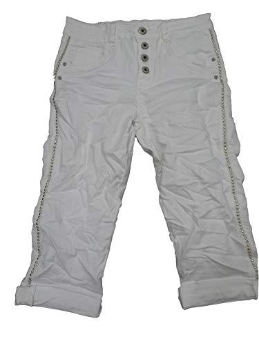 Karostar by Lexxury Donna Ragazzo Larghi Elasticizzato Pantaloncini Bermuda Capri Trascurato Pantaloni con Bottoni Borchie - Bianco, L-40