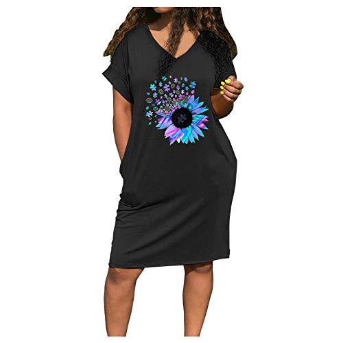 YANFANG Maxi Vestidos Mujer Verano,Vestido Casual con Cuello En V Y Estampado De Vestido Corto Bolsillo Suelto Manga Corta,Vestido Ceremonia Mujer,Vestido Bohemio,Negro,Rojo,Azul,S,M,L,XL,XXL