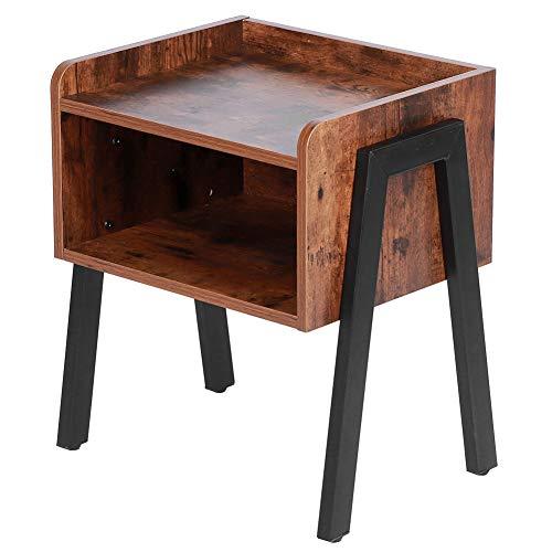 Comodino Vintage, Ripiano Aperto per Tavolino, Grande Ripiano in Legno E Struttura in Metallo, per Soggiorno