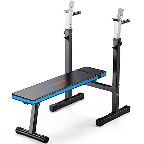 WINNOW Verstellbare Hantelbank mit Dip-Station Klappbare Schwerlast Gewichtheben Bank Heimtraining Fitnessstudio Multifunktion Trainingsbank