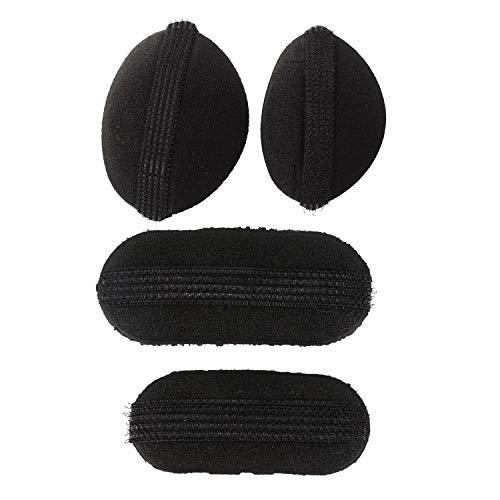 Bobotron 4 piezas de esponja negra para el pelo, volumen Bumpit, volumen para levantar el pelo, volumen Bumpits Styling Bump Up Insert, almohadilla de esponja de princesa, 2 piezas A y 2 piezas B