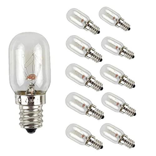 10pcs Lighting - Bombilla para horno de microondas de 10W frigorífico, E12 lámpara para electrodomésticos, luz de estufa, lámpara de cristal de sal blanco cálido, bombilla de ayuda para la cocina