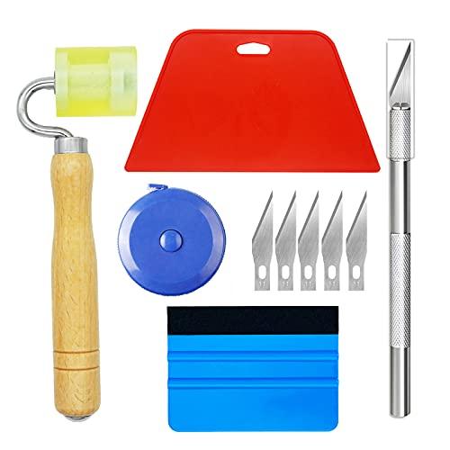 Ewrap Kit de herramientas para papel tapiz con raspador de papel tapiz, rodillo de mano, cinta métrica, escobilla de goma de plástico para papel tapiz, vinilo de coche, película para ventanas