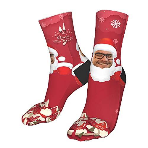 Lumemery Calcetines de Navidad personalizados Calcetines de cara personalizados para hombres Calcetines personalizados de Navidad con foto de Papá Noel