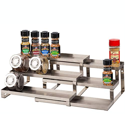 ALhom Spice Rack Organizer for Cabinet / Wall Mount / Countertop / Pantry - 3 Tier Expandable Spice Shelf - Stainless Steel