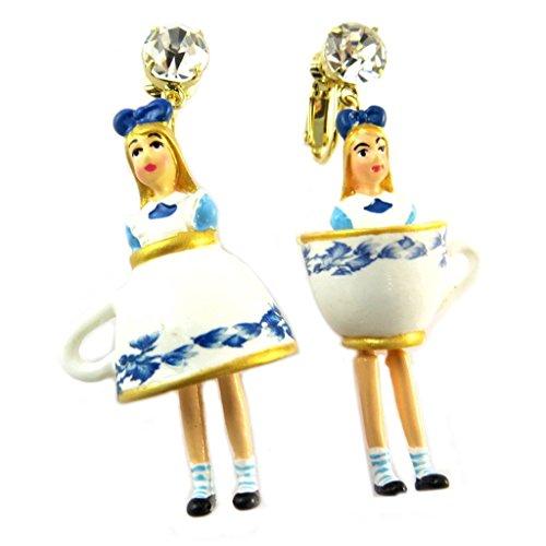 Les Trésors De Lily [P2042] - Orecchini clip mestiere 'wonderful world' (alice) blu oro bianco - 60x25 mm.