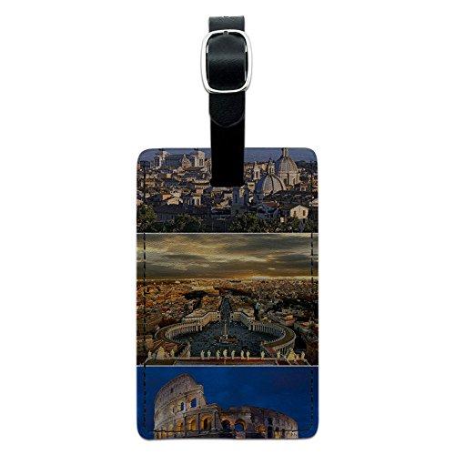 Graphics & More Gepäckanhänger, Motiv: City of Rom, italienisches Colloseum, quadratisch, Leder, Mehrfarbig (Schwarz) - Leather.Tag.RECT.05033