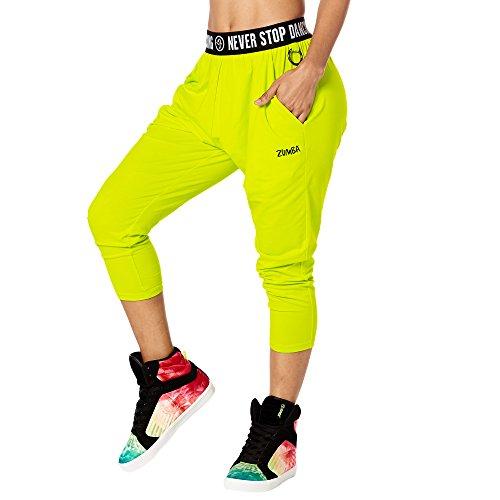Zumba Capri Pantalon Harem de Entrenamiento Fitness Mallas de Deporte de Mujer, Zumba Green, S