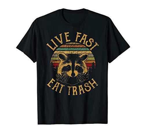 Live Fast Eat Trash Funny Waschbär Camping Vintage T-Shirt