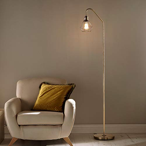 CGC Antique Brass Industrial Floor Lamp Geometric Metal Cage Light Dining Room Lounge Bedroom Shade Office Living Room Dining Room Hallway Entrance