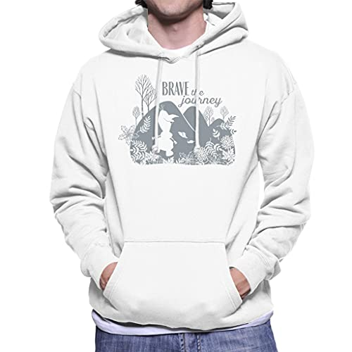Disney Frozen II Olaf Silhouette Brave The Journey Men's Hooded Sweatshirt White