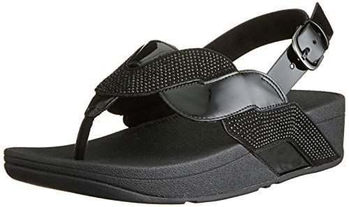 Fitflop Paisley Glitter Rope Back-Strap Sandals, Sandalia Mujer, All Black, 39 1/3 EU