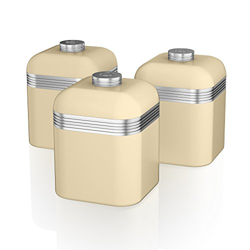 Swan Retro Kitchen Storage Canisters - Cream - Set of 3