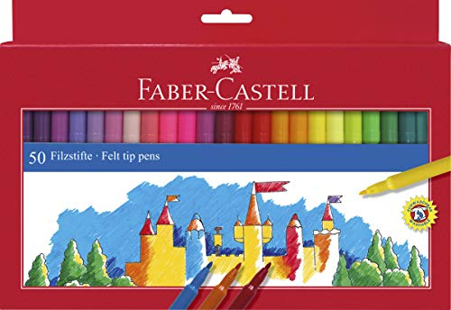 Faber-Castell 554250 - Filzstifte, im Kartonetui, 50 Stück
