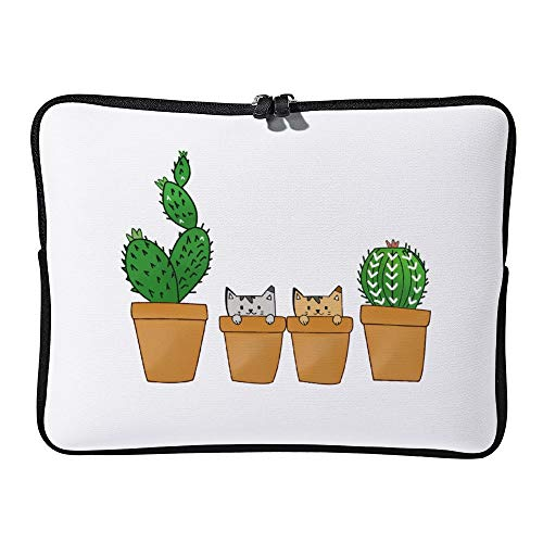 DKISEE Kawaii Cactus And Cats Laptop Sleeve for MacBook Air/MacBook Pro Compatible with 15 Inch Notebook Two-way Zippers Laptop Carry Bag Case Cover