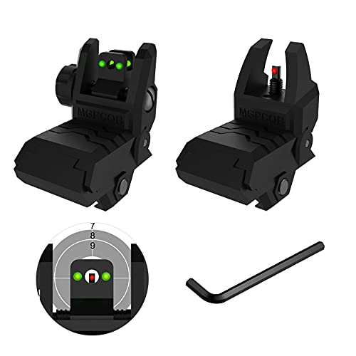 Bugleman Foldable Fiber Optics Iron Sights Flip-up Front and Rear Sights with Visible Red and Green Fiber Sights Polymer Black Back up Sight for Picatinny Weaver Rails