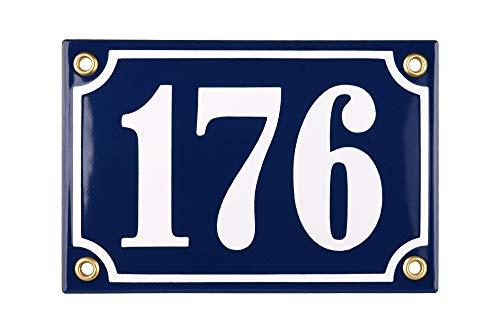 Sosenco Hausnummerschild Hausnummer - 10x15 cm - Keramik Emaille - Wetterfest - Personalisiert - Emailschild (Blau)