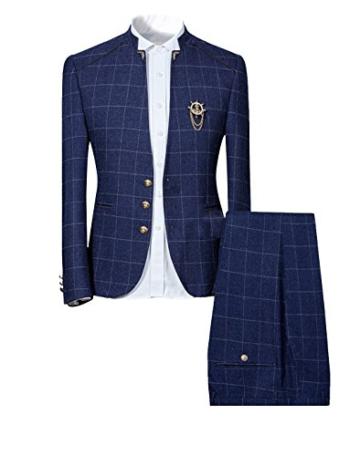 Mens Plaid Slim Fit Checked Suits 2 Piece Vintage Jacket and Trousers (X-Large, Navy)
