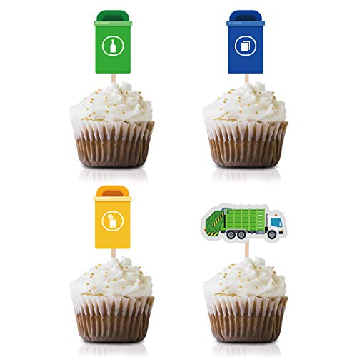 Garbage Truck Cupcake Topper Picks, 24-Pack Garbage Trash Recycling Baby Shower Kids Birthday Party Decorations