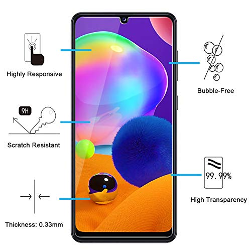 NEW'C Lot de 3, Verre Trempé Compatible avec Samsung Galaxy A31, Film Protection écran Ultra Résistant (0,33mm HD Ultra Transparent) Dureté 9H Glass