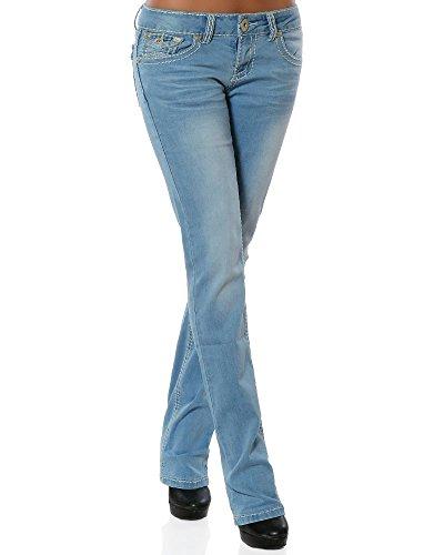 Daleus Damen Jeans Straight Leg (Gerades Bein Dicke Nähte Naht weitere Farben) No 12923, Hellblau, 42
