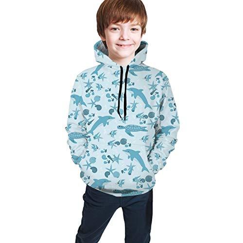 Teen Hoodies Fashion Sweatshirts,Dotted Starfishes and Seashells Bubbles Turtles Cute Dolphins Aquarium L