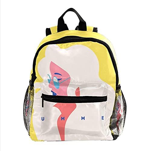Bolsa de Estudiante Ilustración de niña Mochila de jardín de Infantes a Prueba de Agua Mochila para niños Adecuada para Viajes de jardín de Infantes 25.4x10x30 CM